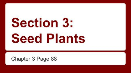 Section 3: Seed Plants Chapter 3 Page 88.