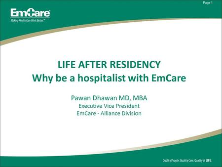 Why be a hospitalist with EmCare