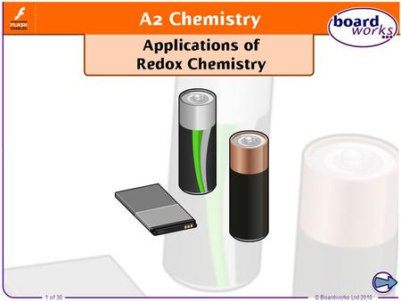 Boardworks A2 Chemistry Applications of Redox Chemistry