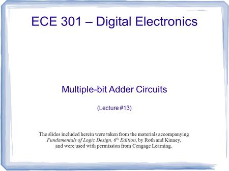 ECE 301 – Digital Electronics