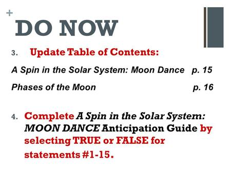 DO NOW Update Table of Contents: