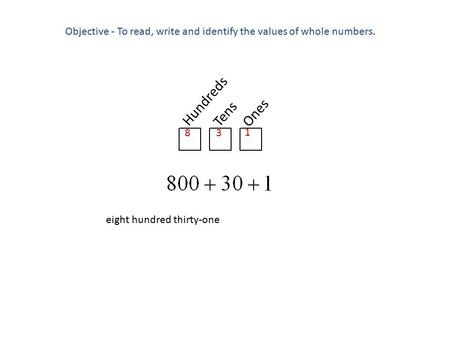 Objective - To read, write and identify the values of whole numbers.