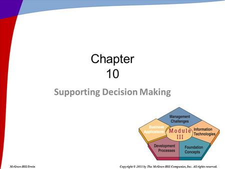 Supporting Decision Making Chapter 10 McGraw-Hill/IrwinCopyright © 2011 by The McGraw-Hill Companies, Inc. All rights reserved.