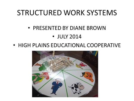 STRUCTURED WORK SYSTEMS PRESENTED BY DIANE BROWN JULY 2014 HIGH PLAINS EDUCATIONAL COOPERATIVE.