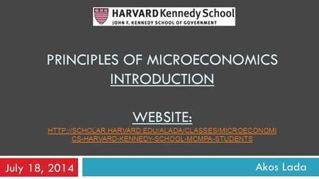 principles of microeconomics introduction WEBsite:
