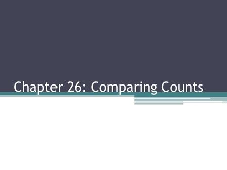 Chapter 26: Comparing Counts. To analyze categorical data, we construct two-way tables and examine the counts of percents of the explanatory and response.