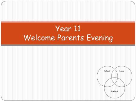 Year 11 Welcome Parents Evening SchoolHome Student.