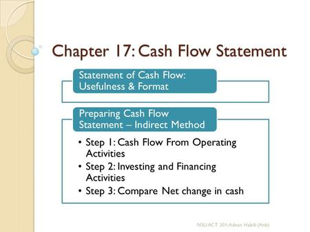 Chapter 17: Cash Flow Statement
