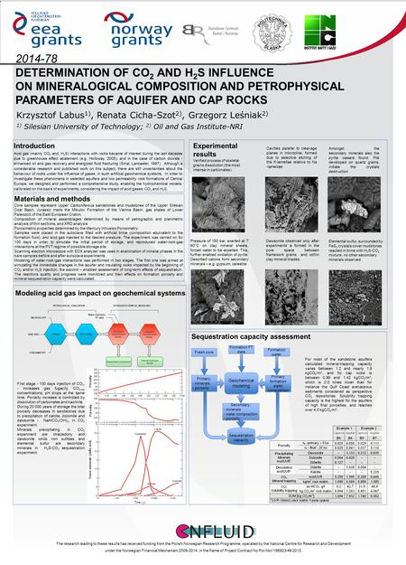 2014-78 DETERMINATION OF CO 2 AND H 2 S INFLUENCE ON MINERALOGICAL COMPOSITION AND PETROPHYSICAL PARAMETERS OF AQUIFER AND CAP ROCKS Krzysztof Labus 1),