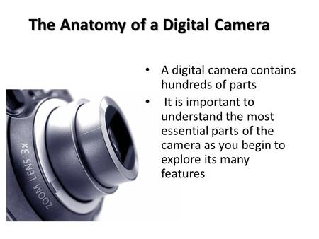 The Anatomy of a Digital Camera A digital camera contains hundreds of parts It is important to understand the most essential parts of the camera as you.