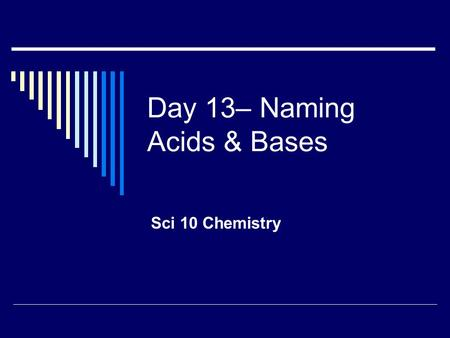 Day 13– Naming Acids & Bases Sci 10 Chemistry. What is an Acid?  Acid: a compound that makes hydrogen ions H + (aq) when dissolved in water i.e.: HCl.