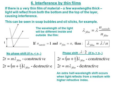 6. Interference by thin films t No phase shift (if n 2 < n 1 ) Phase shift -_____ (if n 2 > n 1 ) If there is a very thin film of material – a few wavelengths.