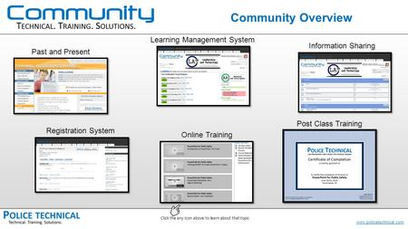 Www.policetechnical.com Community Overview Learning Management System Information Sharing Registration System Online Training Post Class Training Past.