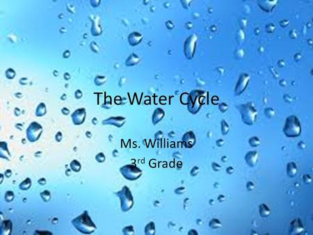 The Water Cycle Ms. Williams 3rd Grade.