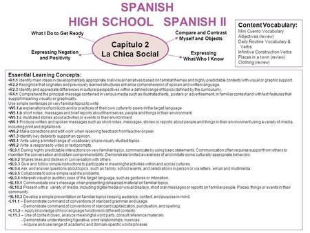 SPANISH HIGH SCHOOL SPANISH II