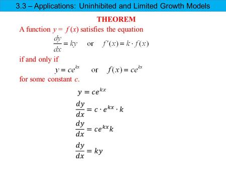 3.3 – Applications: Uninhibited and Limited Growth Models