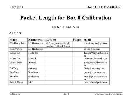 Submission doc.: IEEE 11-14/0803r1 July 2014 Wookbong Lee, LG ElectronicsSlide 1 Packet Length for Box 0 Calibration Date: 2014-07-14 Authors: