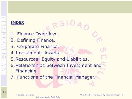 Introduction to Finance Department of Finance and Operations Management Instructor :Martha Edith Bellini Pg. 1 INDEX 1. Finance Overview. 2. Defining Finance.