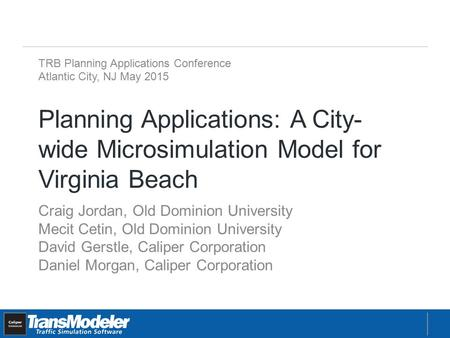 Planning Applications: A City- wide Microsimulation Model for Virginia Beach Craig Jordan, Old Dominion University Mecit Cetin, Old Dominion University.