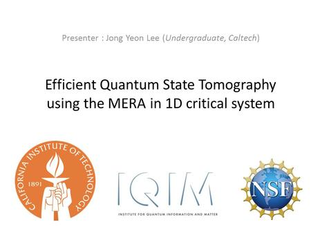 Efficient Quantum State Tomography using the MERA in 1D critical system Presenter : Jong Yeon Lee (Undergraduate, Caltech)
