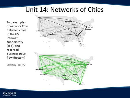 Unit 14: Networks of Cities Two examples of network flow between cities in the US: internet connectivity (top), and recorded business travel flow (bottom)