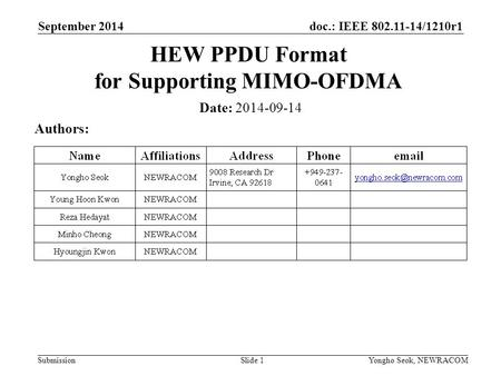 HEW PPDU Format for Supporting MIMO-OFDMA