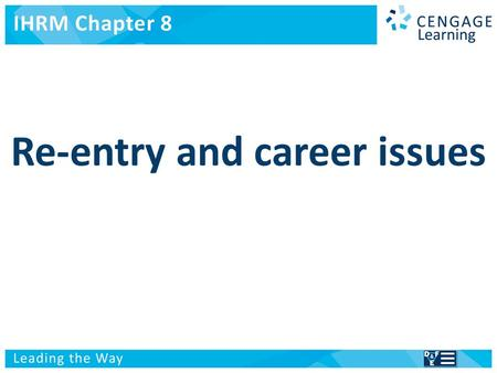 International Human Resource Management Re-entry and career issues