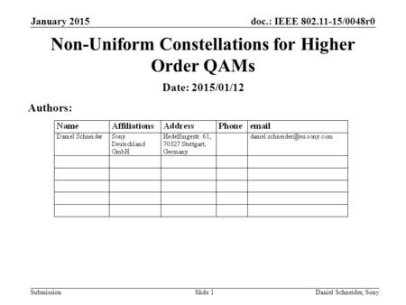 Doc.: IEEE 802.11-15/0048r0 Submission January 2015 Daniel Schneider, SonySlide 1 Non-Uniform Constellations for Higher Order QAMs Date: 2015/01/12 Authors: