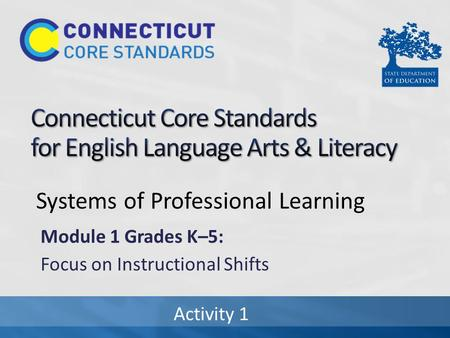 Systems of Professional Learning Module 1 Grades K–5: Focus on Instructional Shifts Activity 1.