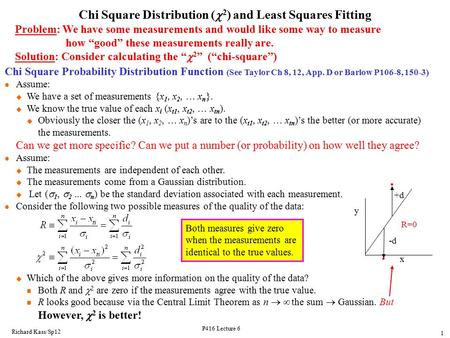 Chi Square Distribution (c2) and Least Squares Fitting