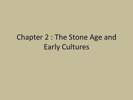 Chapter 2 : The Stone Age and Early Cultures