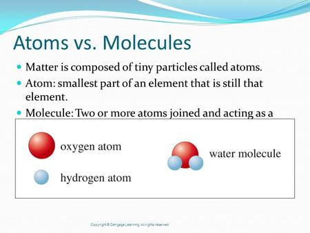 Atoms vs. Molecules Matter is composed of tiny particles called atoms. Atom: smallest part of an element that is still that element. Molecule: Two or more.