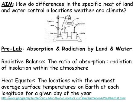 Pre-Lab: Absorption & Radiation by Land & Water