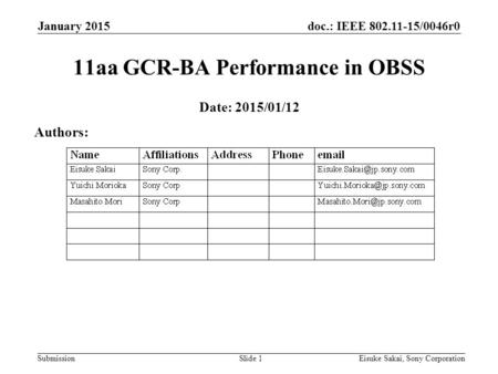 Doc.: IEEE 802.11-15/0046r0 Submission January 2015 Eisuke Sakai, Sony CorporationSlide 1 11aa GCR-BA Performance in OBSS Date: 2015/01/12 Authors: