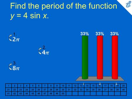 Find the period of the function y = 4 sin x. 1234567891011121314151617181920 2122232425262728293031323334353637383940 41424344454647484950 1. 2. 3.