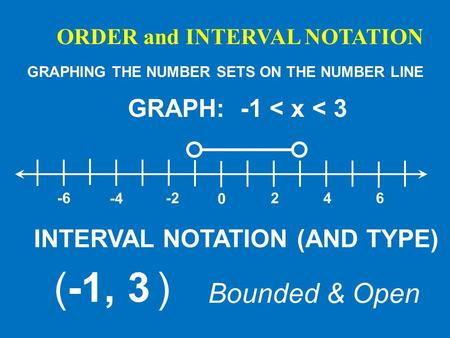 ORDER and INTERVAL NOTATION GRAPHING THE NUMBER SETS ON THE NUMBER LINE GRAPH: -1 < x < 3 0 246-2 -4 -6 INTERVAL NOTATION (AND TYPE) (-1, 3 ) Bounded &