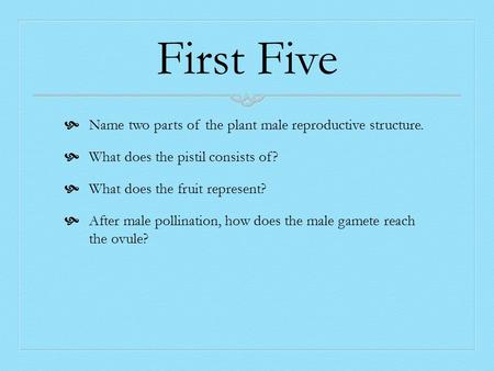 First Five  Name two parts of the plant male reproductive structure.  What does the pistil consists of?  What does the fruit represent?  After male.