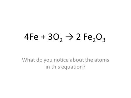 What do you notice about the atoms in this equation?