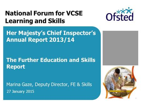 National Forum for VCSE Learning and Skills Her Majesty's Chief Inspector's Annual Report 2013/14 The Further Education and Skills Report Marina Gaze,