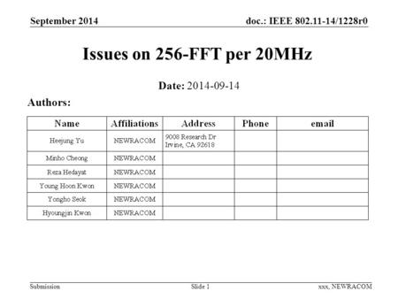 Doc.: IEEE 802.11-14/1228r0 Submission September 2014 xxx, NEWRACOM Issues on 256-FFT per 20MHz Date: 2014-09-14 Authors: Slide 1.
