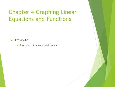 Chapter 4 Graphing Linear Equations and Functions  Lesson 4.1  Plot points in a coordinate plane.