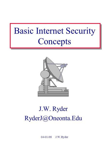 04-01-98 J.W. Ryder Basic Internet Security Concepts J.W. Ryder