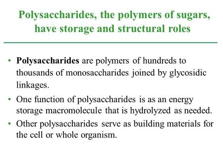 Polysaccharides are polymers of hundreds to thousands of monosaccharides joined by glycosidic linkages. One function of polysaccharides is as an energy.