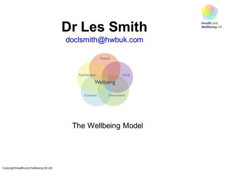 Health and Wellbeing UK Copyright Health and Wellbeing UK Ltd Dr Les Smith The Wellbeing Model.