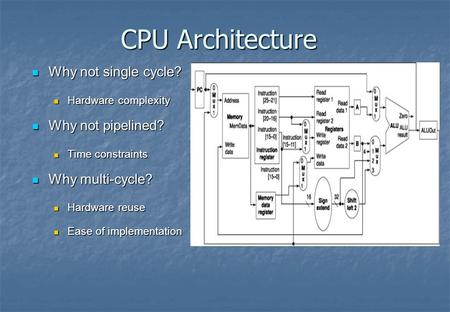 CPU Architecture Why not single cycle? Why not single cycle? Hardware complexity Hardware complexity Why not pipelined? Why not pipelined? Time constraints.