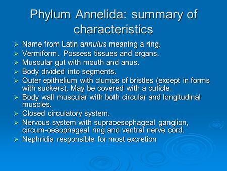 Ppt phylum: annelida powerpoint presentation id:2177326.