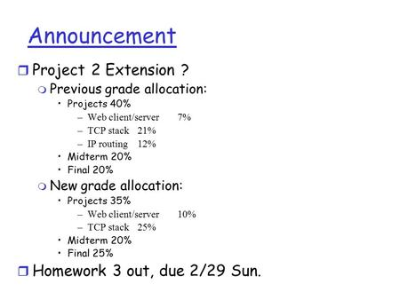 Announcement r Project 2 Extension ? m Previous grade allocation: Projects 40% –Web client/server7% –TCP stack21% –IP routing12% Midterm 20% Final 20%
