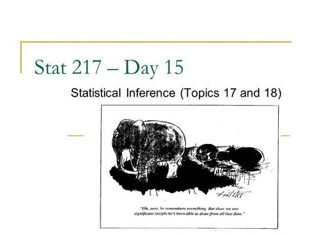 Stat 217 – Day 15 Statistical Inference (Topics 17 and 18)