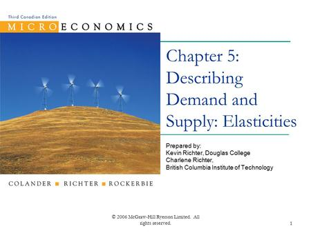 © 2006 McGraw-Hill Ryerson Limited. All rights reserved.1 Chapter 5: Describing Demand and Supply: Elasticities Prepared by: Kevin Richter, Douglas College.