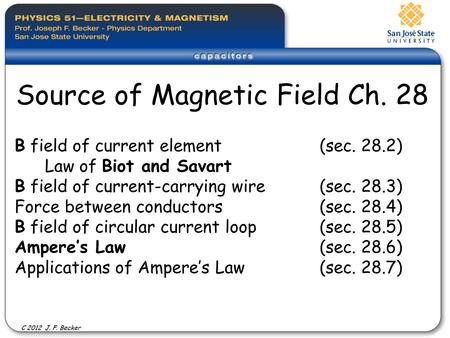 B field of current element (sec. 28.2) Law of Biot and Savart B field of current-carrying wire (sec. 28.3) Force between conductors(sec. 28.4) B field.